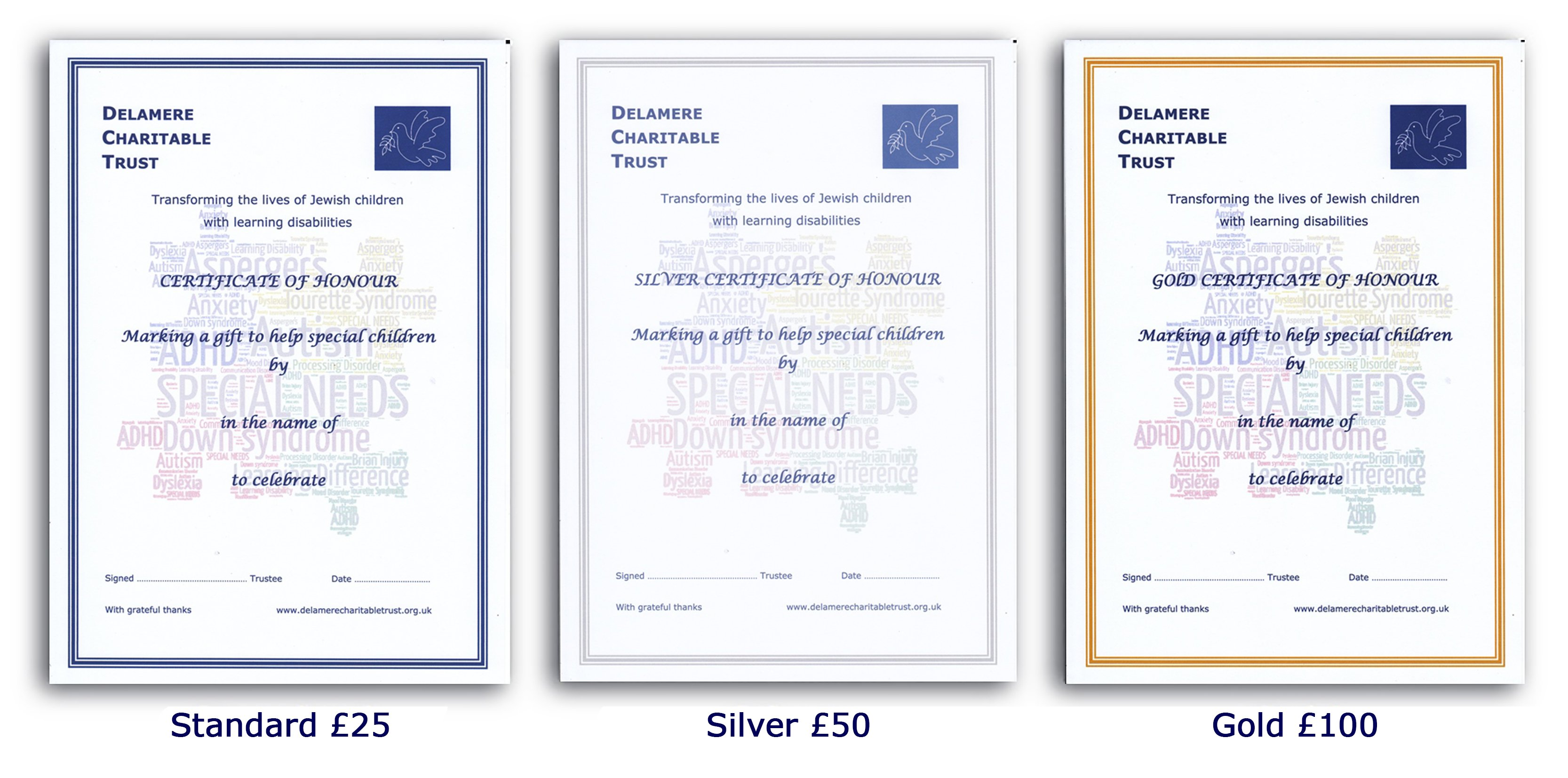 Image of the different certificates